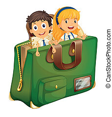 school concept - Illustration of kids in a schoolbag