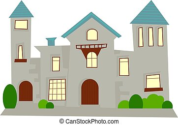 mansion - simple generic statley home mansion house isolated...