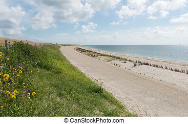Dike at Wadden Sea - Great dike at the Wadden Sea near the...