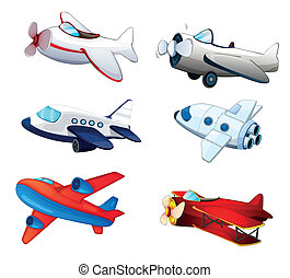 Aeroplanes - illustration of various aeroplanes on a white...