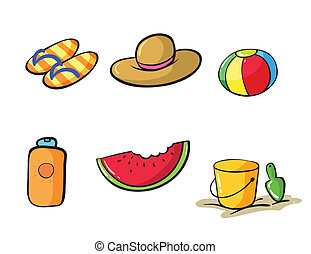 various beach objects - illustration of various objects in...