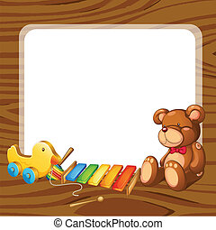 toys and board - illustration of toys and board on a white...