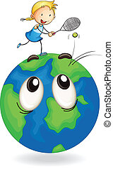 girl playing tennis on earth globe - illustration of a girl...