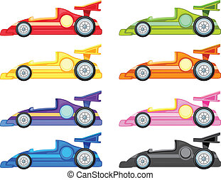 racing car - illustration of various cars on a white...