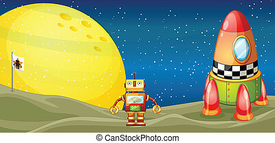 robot and space shuttle - illustration of a robot and a...