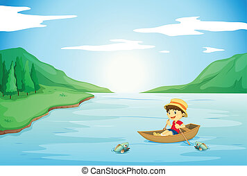 a boy rowing in a boat - illustration of a boy rowing in a...
