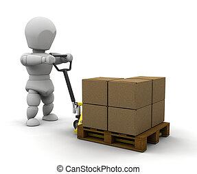 pallet, Pessoa, caminhão