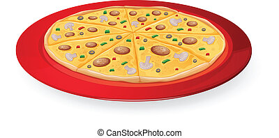 pizza in red dish - illustration on a pizza in a red dish on...