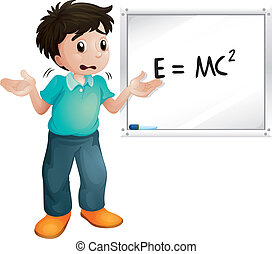 boy showing white board - illustration of boy showing white...