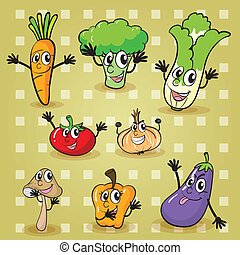 vegetables - illustration of various vegetables on a yellow...
