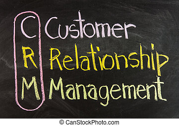 Acronym of CRM - Customer Relationship Management written on...