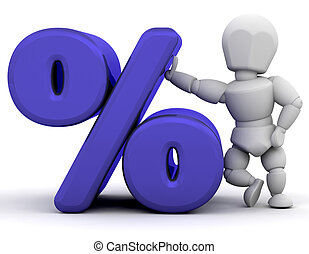 Person with percentage symbol