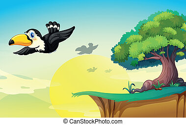 bird and tree - illustration of bird and tree in a beautiful...