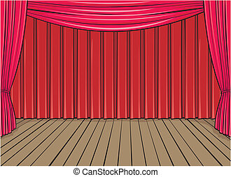 stage background - theater or entertainment stage with red...