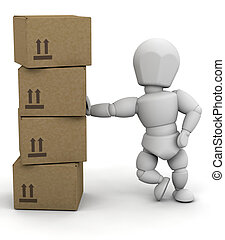 Person leaning on boxes - 3D render of someone leaning on...