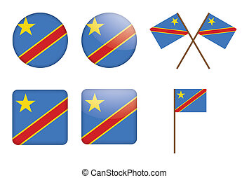 badges with flag of DR Congo - set of badges with flag of...
