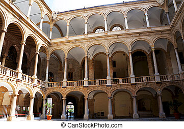 View of the multilevel arcade in the internal court of the...