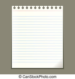 Blank vector notepad sheet - Blank notepad sheet, vector...