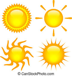 Vector suns set isolated on white