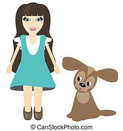 nice girl with dog