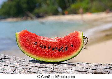 Juicy slice of watermelon