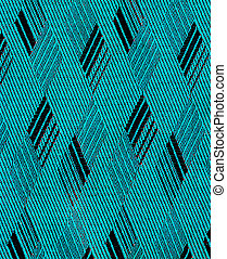 fabric texture - cyan and black rhomb form fabric texture