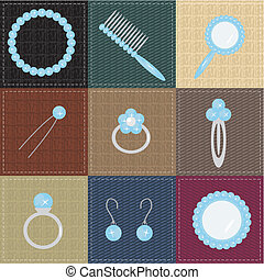 set with lady objects on patchwork with different textures