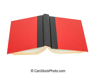 red cover book with black strap