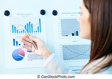 Analyzing results - Close-up of marketing analysis presented...