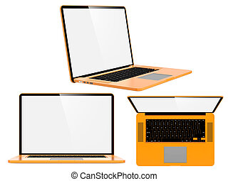 Set of Orange Modern Laptops.