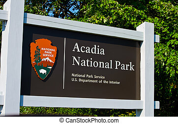 Signpost for Acadia N. Park - A close up view of the...