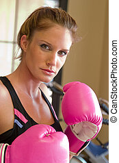 In Hot Pink Boxing Gloves