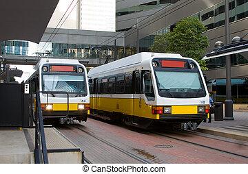 Mass Transit  - Light rail train in downtown Dallas.