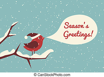 Christmas Bird - Illustration of a cute bird in a winter...