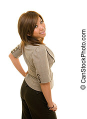 Woman Looks Over Shoulder - Beautiful young Asian business...