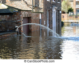 Flooded York City Street - Flooded city street leading to...
