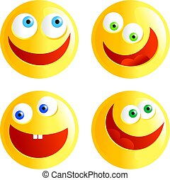 happy smilies - set of yellow happy faced smilie emoticons...