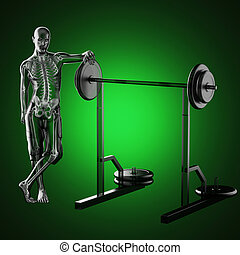 human radiography scan in gym room made in 3d