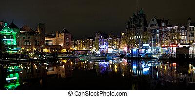 Vivid & Colorful Amsterdam at night