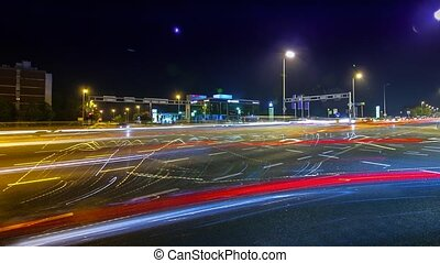 Rush-hour Traffic in city time lapse night