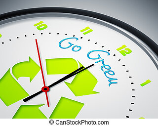 Go Green - An image of a nice clock with Go Green