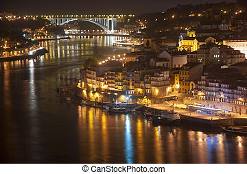 Porto at Night, Portugal - View to Porto over river Douro...