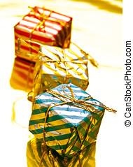 kasten, Geschenk, Geformt, baum, Verzierungen, Weihnachten