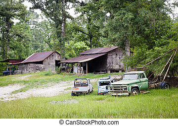 old cars and houses