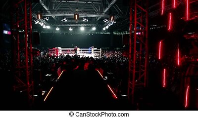 Crowd in large hall on fighting event, panoramic view from...