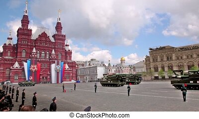 SAM Grizzly SA-17 and MLRS 9K58 Tornado motorcades ride on Red square