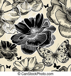Seamless pattern with wild roses and butterflies, hand...
