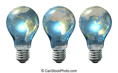 Light Bulb World Globe Series - A series of three regular...