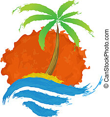 Tropical palm on island with sea. Vector logo.