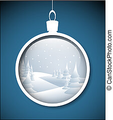 Vector Christmas bauble with snowy landscape